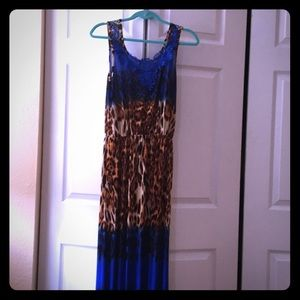 Dresses & Skirts - Leopard and blue long dress